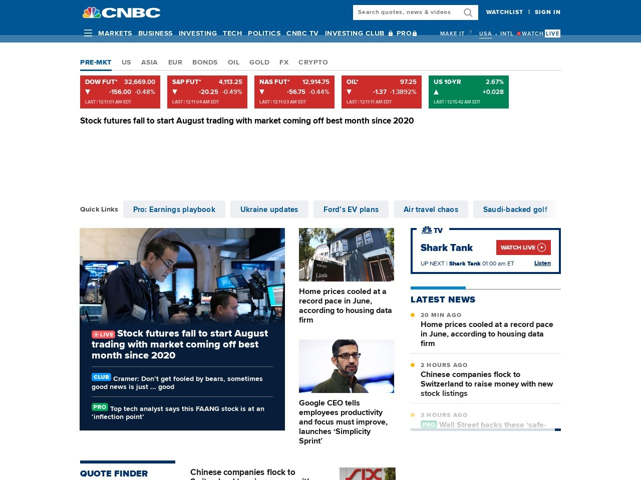 Stock Markets, Business News, Financials, Earnings - CNBC