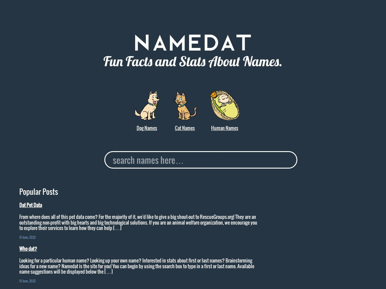 NameDat | Facts and Stats about your name.